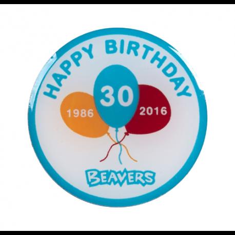 Beaver 30th Birthday Pin Badge (2cm)