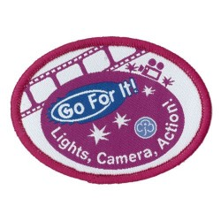 Guide Go For It!<br/> Lights Camera Action Woven Badge