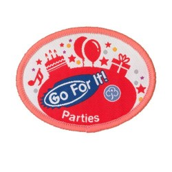 Guide Go For It!<br/> Parties Woven Badge