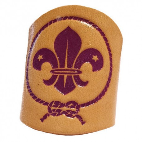 World Scout Woggle - Tubular Leather (Tan)