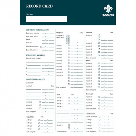 Scout Record Cards (Pack of 10) - New