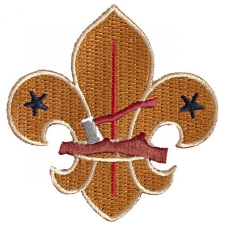Heritage Log & Axe Fleur de Lis Fun Badge