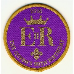 Queen's 90th Birthday Woven Badge (5.5cm)- Scouts