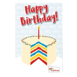 Rainbows birthday cards - cake (6pk)