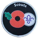 Scouting Remembrance Poppy Fleur De Lis Blanket Woven Badge