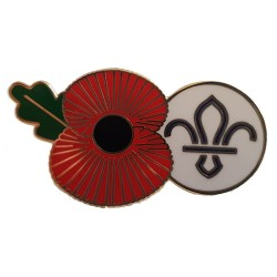 Scouting Remembrance Poppy Fleur De Lis Metal Pin Badge