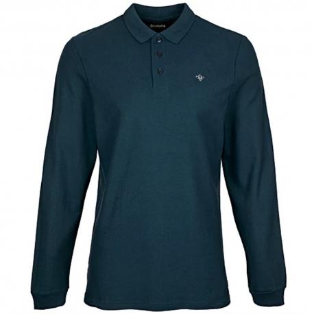 FDL Fleur de Lis Long Sleeve Pique Polo Shirt - NAVY