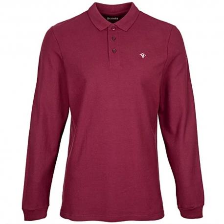 FDL Fleur de Lis Long Sleeve Pique Polo Shirt - BURGUNDY