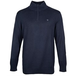 FDL Fleur de Lis Zip Neck Sweater / Jumper - NAVY