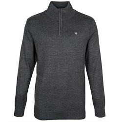 FDL Fleur de Lis Zip Neck Sweater / Jumper - GREY