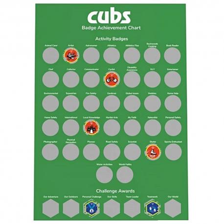 Cubs A3 Scratch Off Badge Achievement Poster