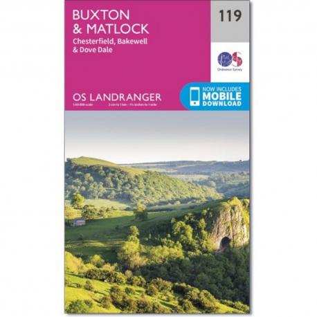 OS Landranger Map Buxton & Matlock
