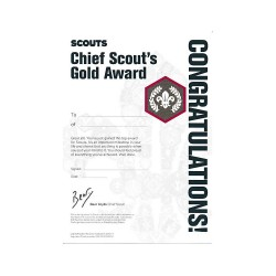 Chief Scout's Gold Award Certificate - Pack of 10