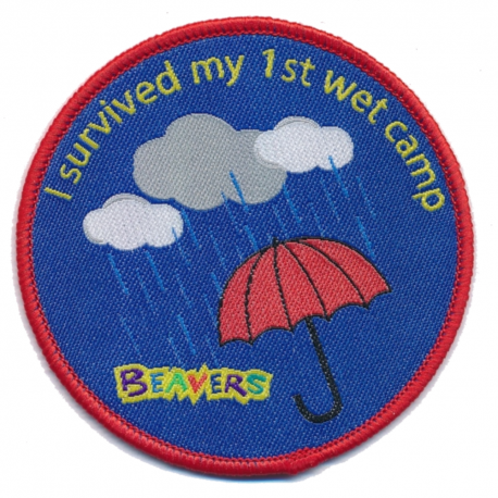 "Beaver ""I Survived My 1st Wet Camp"" Fun Badge"