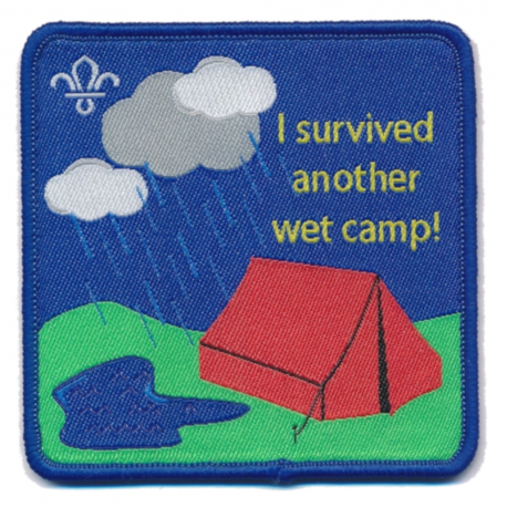 Scouting Fun Badge - I Survived Another Wet Camp - New style