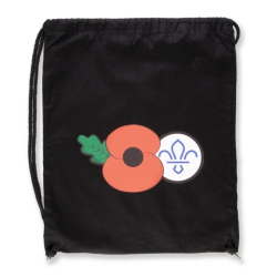 Remembrance Day Poppy & Scouting Fleur de Lis Cotton Drawcord Bag