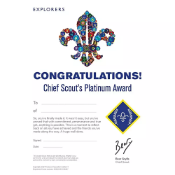 Chief Scout's Platinum Award Certificate - Pack of 10