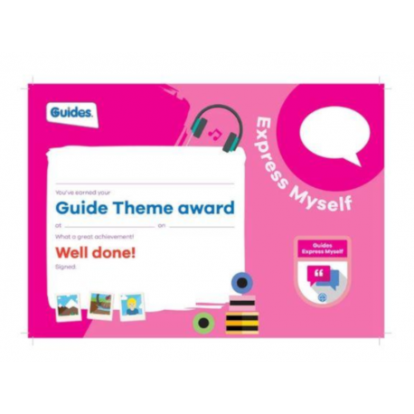 Theme Award – Guides Express Myself certificate