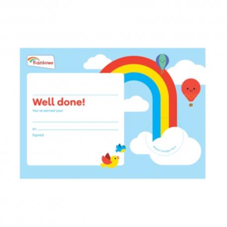Rainbows badge celebration certificate