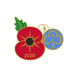 Girlguiding Remembrance Poppy metal badge 2020
