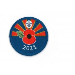 Remembrance Day Scouting Poppy Woven Uniform Badge 2021