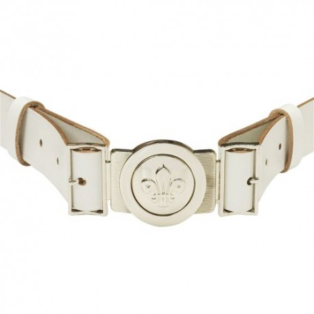 White Leather Belt With Buckle XL - XXL