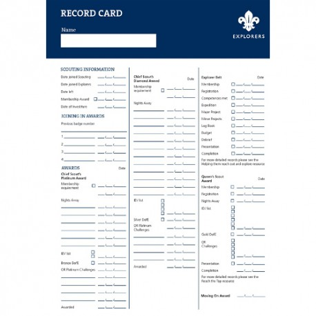 Explorers Record Cards (Pack of 10) - New